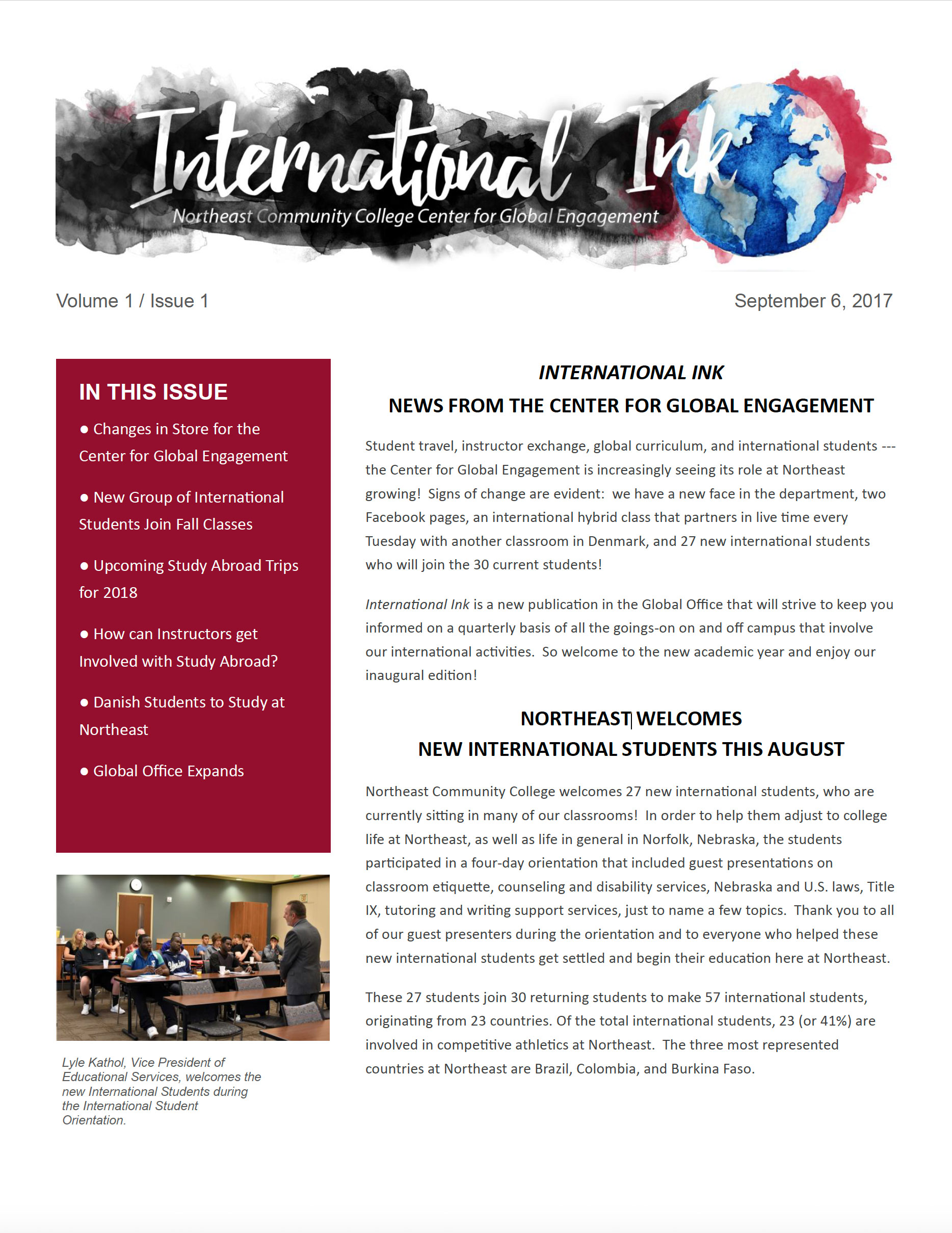 International Ink - Northeast Community College Center for Global Engagement
