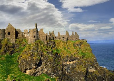 The ruins of the Dunluce Castle on the Causeway Coast of Norther